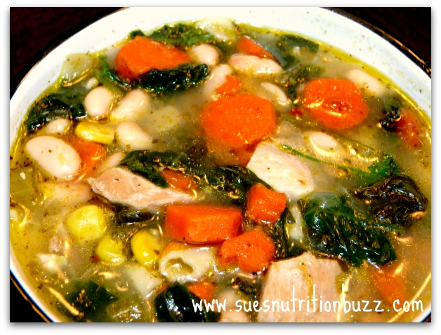 Chunky Chicken Bean Spinach Soup Spiked With Coconut Oil - Sue's ...